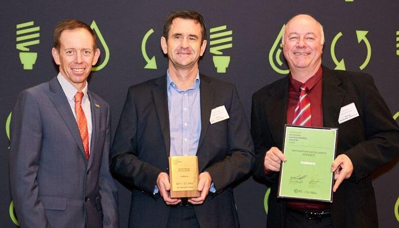 Indesco Managing Director Angus Gorman and Office/HR Manager Colin Imms are presented with the Motivation Excellence award for Business Sustainability