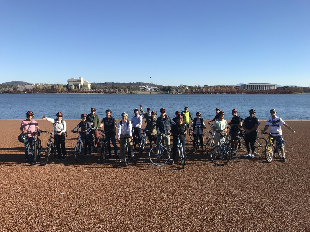 Paul Brookbanks and Michael Roy Lead Lake Burley Griffin Cycling Tour