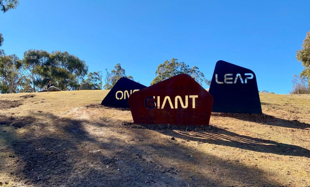 """ONE GIANT LEAP"" signage"